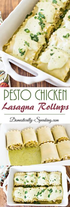 Pesto Sauce Lasagna Rollup with Chicken topped with a Garlic Basil Cream Sauce