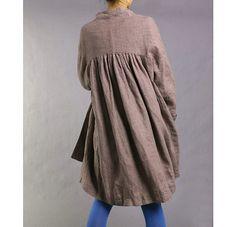 Free Style Pleated Linen Long Coat/ Cape/ Heather door Ramies