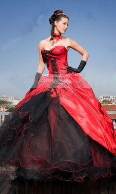 Red Black Ball Gown Quinceanera Dresses Prom Evening Dress Wedding Bridal Gowns | eBay