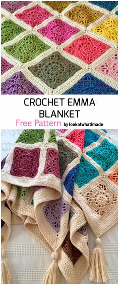 Crochet blanket patterns free 532691462178214207 - Crochet Emma Baby Blanket – Free Patterns Source by jessmndoz Crochet Afghans, Crochet Square Blanket, Crochet Squares Afghan, Crochet Bedspread, Patchwork Blanket, Crochet Quilt, Afghan Crochet Patterns, Crochet Home, Baby Blanket Crochet