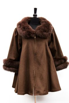 Coat with Fox Fur Collar and Fur Trim Sleeves - Brown