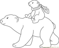 Little Polar Bear with his Mom going for Ride coloring page for kids and adults from Cartoon Movies coloring pages, The Little Polar Bear coloring pages Polar Bear Coloring Page, Bear Coloring Pages, Coloring Pages For Kids, Polar Bear Cartoon, Polar Bear Drawing, The Little Polar Bear, Baby Polar Bears, Polar Bear Paint, Bear Sketch