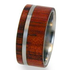 Titanium Ring Wooden Band with Bubinga Wood Inlay by Jewelry by Johan | Hatch.co