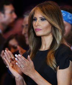 Melania Trump Long Wavy Cut - Melania Trump looked lovely wearing this gently wavy hairstyle while attending an election event., click now for info. Donald And Melania Trump, First Lady Melania Trump, Donald Trump, Trump Melania, Melania Trump Hair Color, Wavy Hair, New Hair, Melina Trump, Melania Knauss Trump