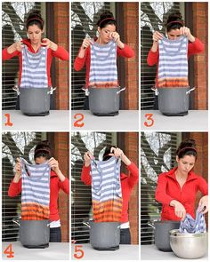 DIY tutorial for ombre dying clothes