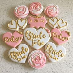 47 Ideas Cute Bridal Shower Cupcakes Wedding Cookies For 2019 Wedding Shower Cookies, Bridal Shower Desserts, Bridal Shower Cupcakes, Bridal Shower Decorations, Shower Cakes, Shower Favors, Hens Party Cupcakes, White Bridal Shower, Gold Bridal Showers