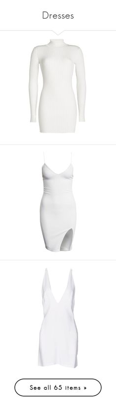 """""""Dresses"""" by c0nejita ❤ liked on Polyvore featuring dresses, bodycon dress, white leather dress, ribbed turtleneck, white turtleneck dress, leather dress, vestidos, short dresses, white and party dresses"""