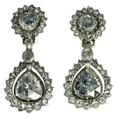 Georgian antique earrings with big pear shaped rose cut diamonds ( са. 1780 )