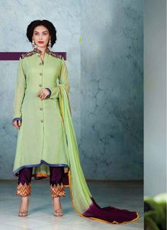 Violet and Sea Green Embroidered Faux Georgette Pant Style Salwar Suit