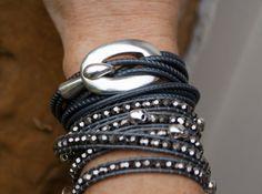 Nappa leather bracelet Scandinavian style Silver by Mollymoojewels, £28.00