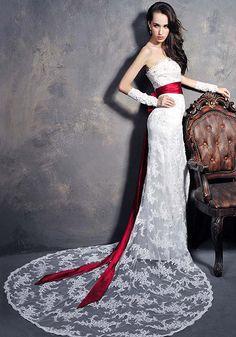 Robe de Mariée Empire-Soutien-gorge De Dentelle Queue De Poisson Sexy Robe De Mariée De Mariée