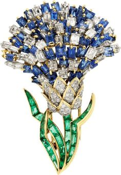 A lovely floral brooch with emerald cut white diamonds and blue sapphires set in platinum. Along with emeralds set in yellow gold. High Jewelry, Modern Jewelry, Jewelry Art, Antique Jewelry, Vintage Jewelry, Jewelry Design, Gemstone Brooch, Diamond Brooch, Turquoise Jewelry