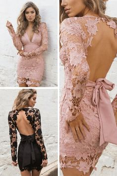Look amazing at any party with this lovely sexy backless lace party dress. With this sexy backless lace party dress you look stunning at any party. It's a tight-fitting, medium-length dress with a bow tie on the back Sexy Party Dresses 2017 Crochet Bodycon Dresses, Lace Party Dresses, Sexy Party Dress, Lace Dress, Ball Dresses, Tight Dresses, Sexy Dresses, Short Dresses, Fashion Dresses