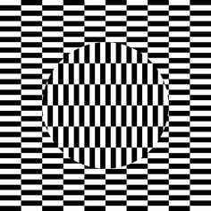 Ouchi Illusion - discovered by Hajime Ouchi. The central disk seems to float above the checkered background when moving the eyes around while viewing the figure.