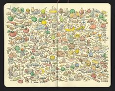 Like a mad hybrid of Where's Waldo meets Dr. Seuss—with healthy doses of absurdity and science fiction—Swedish illustrator Mattias Adolfsson (previously) fills his sketchbooks and canvases edge to edge with his manically dense drawings of... well, just about anything you can imagine. Around the fram