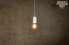 Lampe suspendue porcelaine NUD - Douille en porcelaine et 3m de câble rétro
