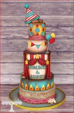 Circus Birthday Cake Cakes Pinterest Circus birthday Birthday