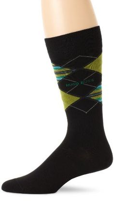 @HUGO BOSS Men's #Argyle #Sock, #Black #Yellow