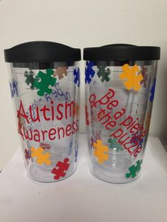 Autism Awareness Personalized Tumbler Cup by PolkaGirlDesigns, $14.00