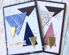 Art With Heart Colour Creations - week 15 Early Espresso Fun Fold Cards, Folded Cards, Cool Cards, Masculine Birthday Cards, Masculine Cards, Hexagon Cards, Triangles, Bday Cards, Card Making Inspiration