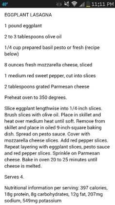 Eggplant lasagna Eggplant Lasagna, Veggie Lasagna, Basil Pesto, Fresh Mozzarella, Stuffed Sweet Peppers, Whole Food Recipes, Beef, Dinner, Vegetarian Lasagne