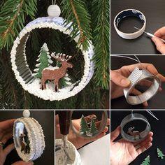 How to make wonderful x-mas tree ornament with paper roll | Мастерим симпатичные елочные игрушки из бобины для скотча