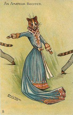 AN AMATEUR RECITER - Postcard by Louis Wain (1905)