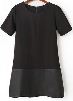 Vestido recto combinado polipiel manga corta-negro