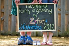 "Pregnancy Announcement...how cute is this! --- A chalkboard or dry erase board is a great way to announce that your have a baby on the way! And the ""two feet"" line is too cute! --- Ditch the boring whiteboard or chalkboard. Special announcements need something fantastic, like a glitter dry erase board! GlittErasables bring the sparkle to every event, from pregnancy announcements and baby showers to engagement pictures and wedding receptions. https://www.etsy.com/shop/GlittErasable"