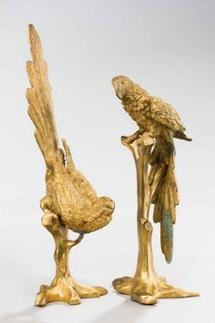 Pair of 19th Century Gilt Bronze Birds of Prey