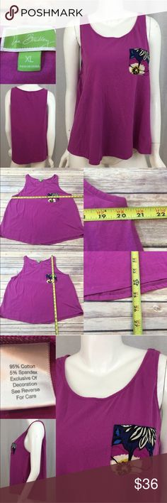 Sz XL Vera Bradley Purple Tank Top Pocket Design Measurements are in photos. Normal wash wear, no flaws. A2  I do not comment to my buyers after purchases, do to their privacy. If you would like any reassurance after your purchase that I did receive your order, please feel free to comment on the listing and I will promptly respond. I ship everyday and I always package safely. Thanks! Vera Bradley Tops Tank Tops