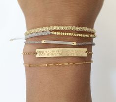 Personalized Gold Bar Bracelet / Inspiration door LayeredAndLong, $37,00