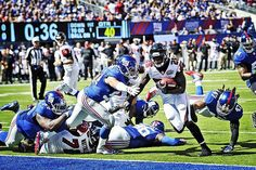 Rookie Tevin Coleman punches it in for his first career touchdown! #ATLvsNYG #RiseUp