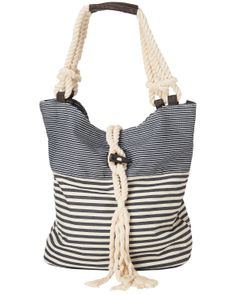 496d76a12d5f An assorted stripe canvas bag perfect for the beach with rope straps and a  rope tassel detail.