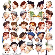 """""""Chain of Gossip"""" by Norman Rockwell Painting Print on Canvas"""