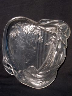 Vintage Art  Nouveau Vanity Tray Clear Plastic Semi Nude by LilBlackDressVintage on Etsy