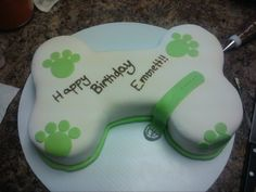 Dog Bone Cake - My friend's dog's birthday cake. :) But it wasn't for him, it was for the family. All chocolate.