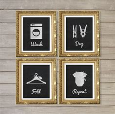 Laundry Room Faux Blackboard Chalk Wall Art Printable - 8x10- Instant Download Print Poster Washing Room Home Decor Clothes Pegs