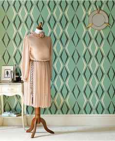 Deco Diamond Wallpaper by Hemingway - Green Geometric Wall Coverings by Graham & Brown Wallpaper Art Deco, Look Wallpaper, Diamond Wallpaper, Green Wallpaper, Retro Wallpaper, Modern Wallpaper, Geometric Wallpaper, Wallpaper Samples, Designer Wallpaper