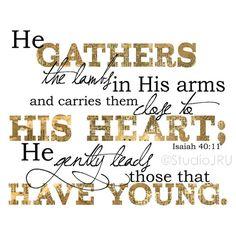 Scripture art, Parents, He Gently Leads, 8x10 Art Print, Encouraging | StudioJRU - Print on ArtFire