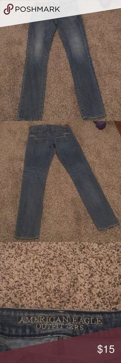 American Eagle Blue denim stretch skinny jeans American Eagle Blue denim stretchy skinny jeans. Size 6 Long American Eagle Outfitters Jeans Skinny