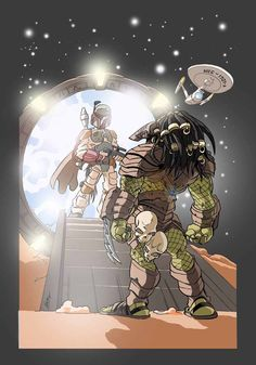 """Weirdest mashup of all time. Star Wars, Star Trek, Star Gate and....Predator?!?!    """"One of these things is not like the other, one of these things just doesn't belong."""""""