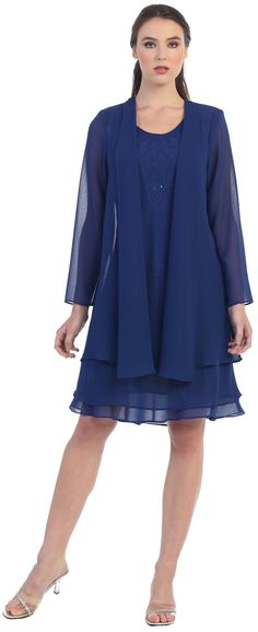 CLEARANCE - Grab this classy white dress and wear it to your next formal occasio. Mother Of Groom Dresses, Mother Of The Bride, Robe Fuchsia, Classy White Dress, Robes D'occasion, Royal Blue Dresses, Blue Gown, Knee Length Dresses, Mode Style
