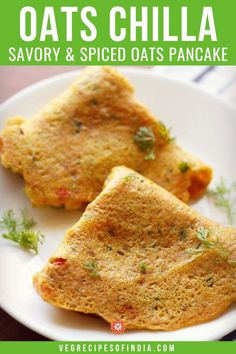 Looking to spice up your morning breakfast routine? Try this savory and spiced oat pancake recipe! They are soft and go great with a side of chutney like green chutney or coconut chutney. Try these easy North Indian breakfast pancakes tomorrow morning! Vegetarian Breakfast Recipes, Savory Breakfast, Morning Breakfast, Oats Recipes Indian, North Indian Recipes, Oat Pancakes, Breakfast Pancakes, Oat Muffins, Milk Recipes