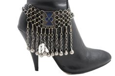 TFJ Women Western Boot Chains Metal Bling Bracelet Dangle Balls Shoe Anklet Charm Antique Silver >>> Click on the image for additional details. (This is an affiliate link) #NiceJewelry
