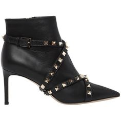 Valentino Women 75mm Studwrap Leather Ankle Boots ($1,300) ❤ liked on Polyvore featuring shoes, boots, ankle booties, black, black leather ankle booties, black pointed toe booties, black ankle booties, high heel booties and black high heel booties
