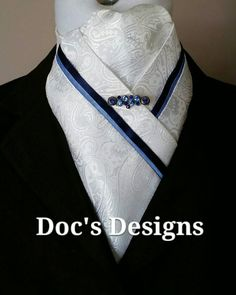 Doc's Designs White Paisley and Blue Stock Tie by DocsDesigns1