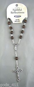 Auto Car or Truck Rosary for Rearview Mirror with Brown Wood Beads www.Gods411.com