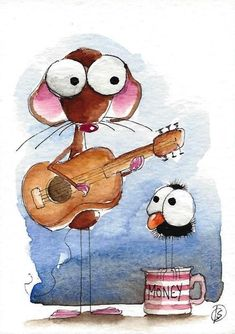 ACEO Original watercolor painting whimsical Lucia Stewart Mouse crow busking #IllustrationArt (scheduled via http://www.tailwindapp.com?utm_source=pinterest&utm_medium=twpin&utm_content=post4752952&utm_campaign=scheduler_attribution)