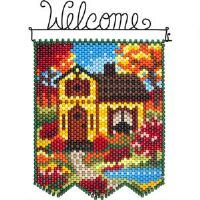 Herrschners® Fall Cottage Beaded Banner Kit